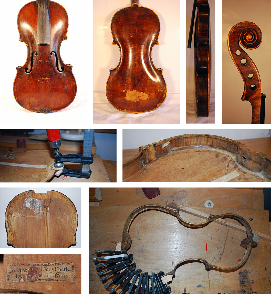 Joannes Udelricus Eberle hegedű javítása